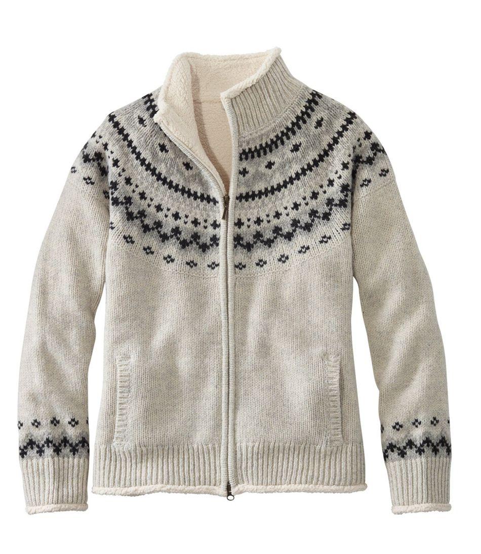 L.L.Bean Classic Ragg Wool Sweater, Sherpa-Lined Zip Cardigan Fair Isle