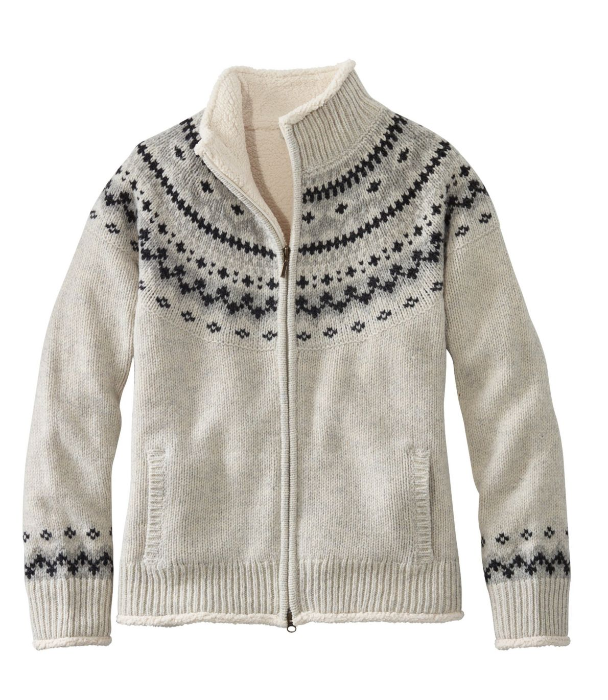 Women's L.L.Bean Classic Ragg Wool Sweater, Sherpa-Lined Zip Cardigan Fair Isle