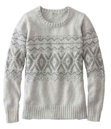 Cotton Ragg Sweater, Crewneck Pullover Fair Isle