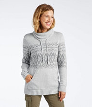 Cotton Ragg Sweater, Cowl Pullover Fair Isle