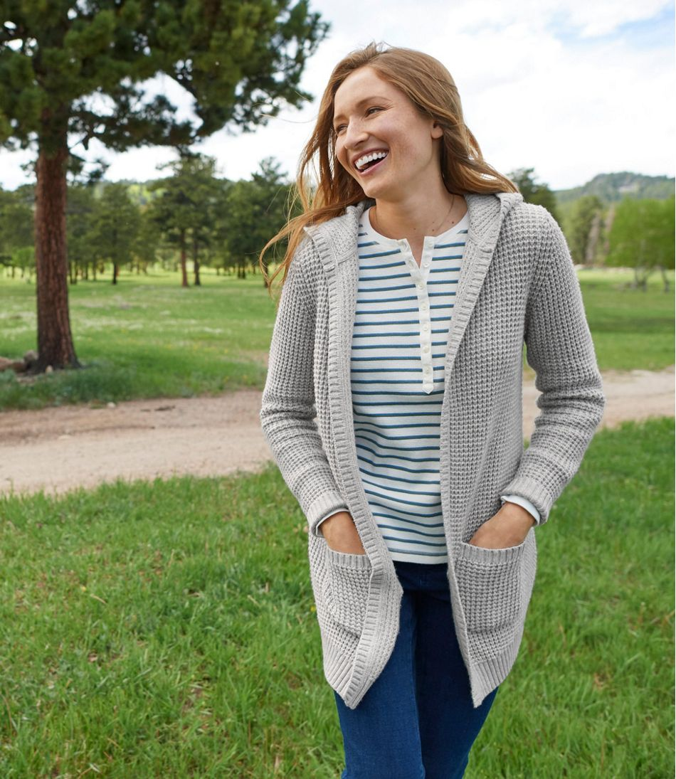 Waffle-Stitch Sweater, Hooded Open Cardigan