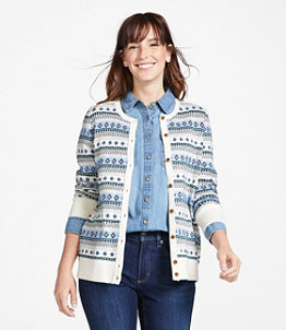Women's Cotton/Cashmere Cardigan, Button-Front Fair Isle