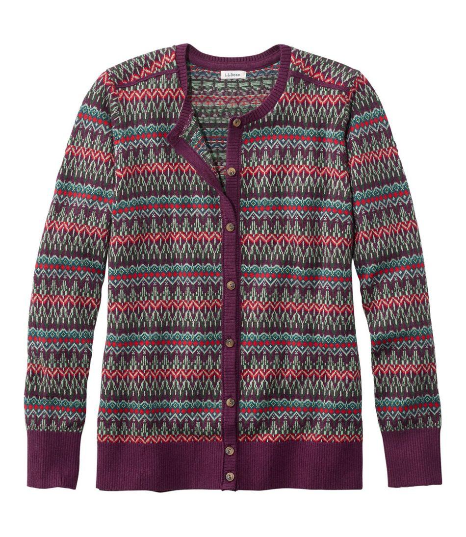 Women's Cotton/Cashmere Cardigan, Button-Front Fair Isle