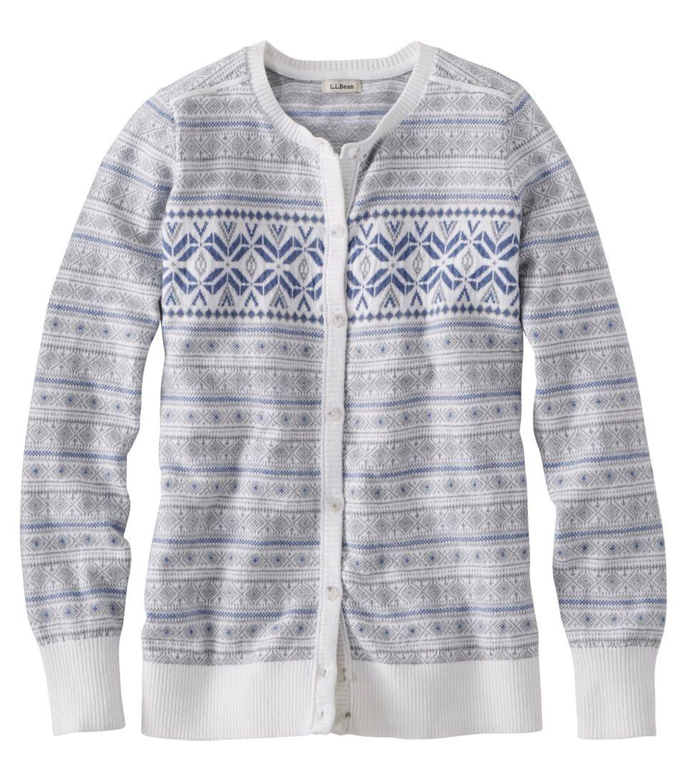 Cotton/Cashmere Cardigan, Button-Front Fair Isle
