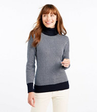 Cotton/Cashmere Sweater, Turtleneck Herringbone