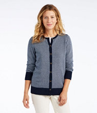 Cotton/Cashmere Cardigan, Button-Front Herringbone