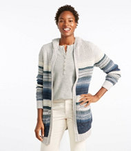 Waffle-Stitch Sweater, Hooded Open Cardigan Multi-Stripe