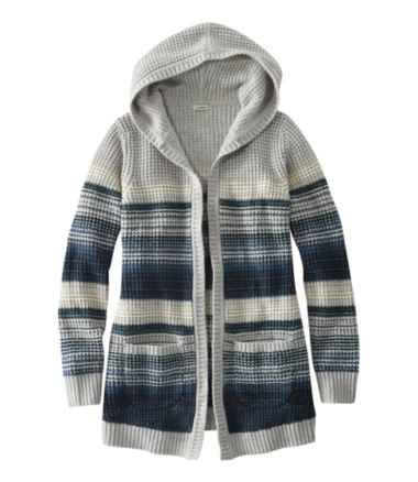 Women's Waffle-Stitch Sweater, Hooded Open Cardigan Multi-Stripe