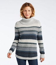 Waffle Stitch Sweater, Cowlneck Pullover Multi-Stripe