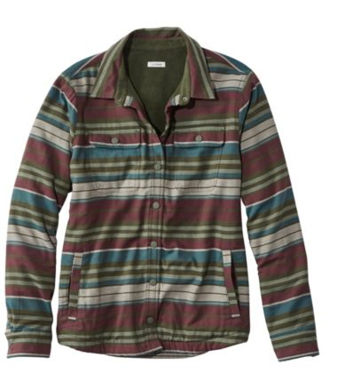 Fleece-Lined Flannel Shirt, Snap-Front Stripe