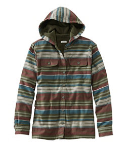 Fleece-Lined Flannel Hoodie, Stripe