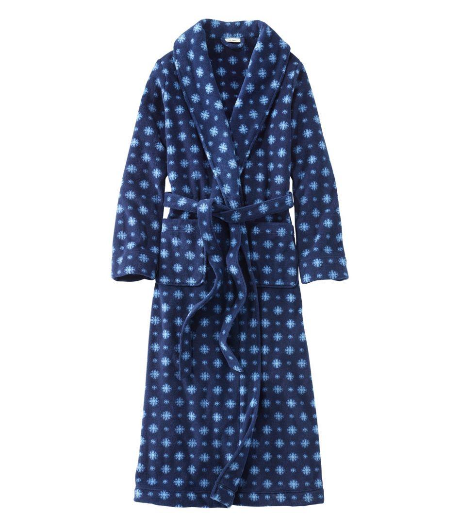Women's Winter Fleece Robe, Wrap-Front Print