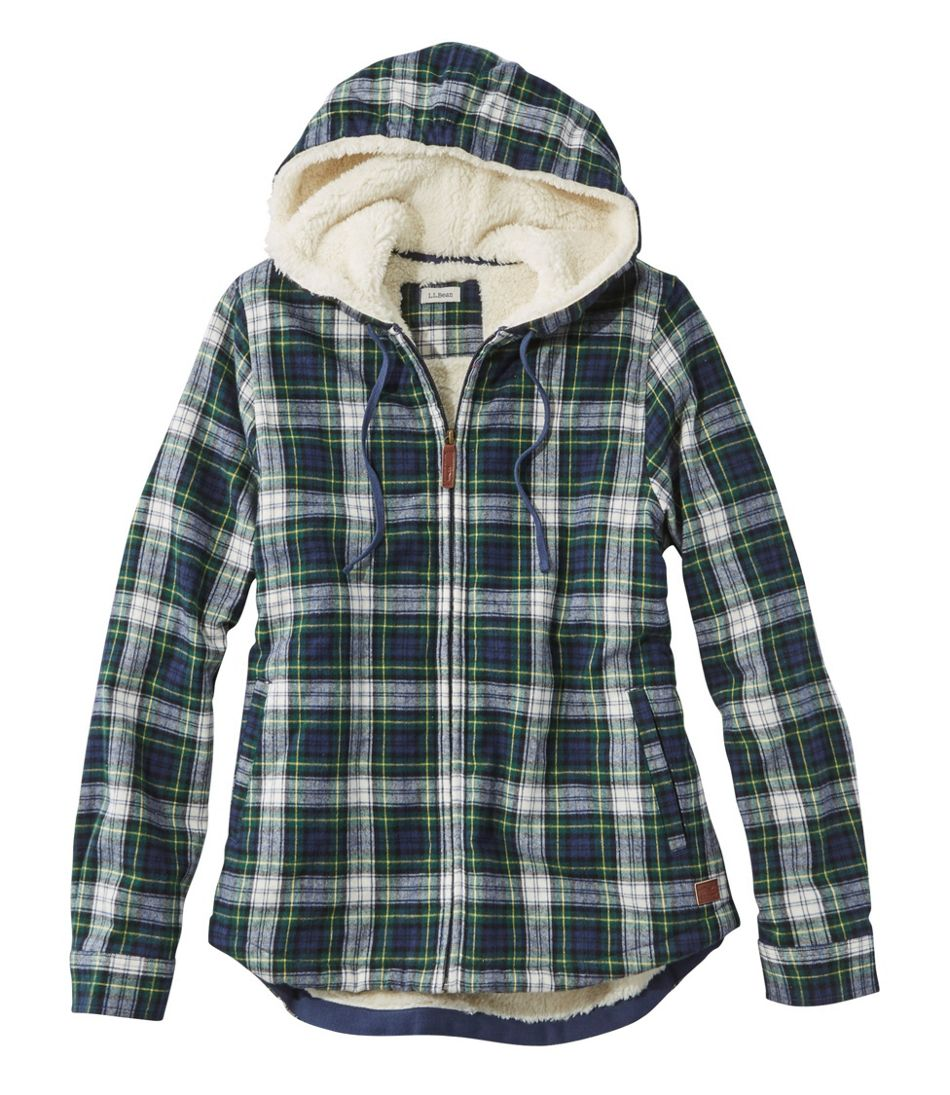 Women's Scotch Plaid Flannel Shirt, Sherpa-Lined Zip Hoodie