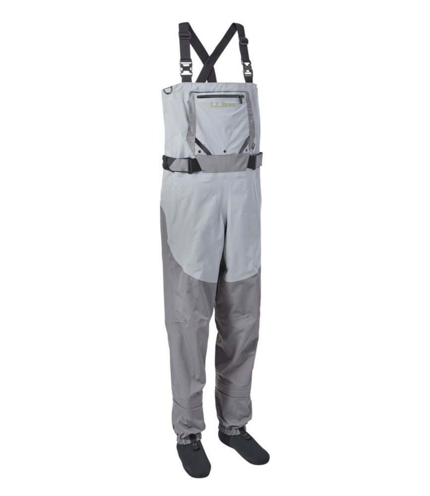 This fly fishing waders photo shows the L.L.Bean Kennebec Stockingfoot Waders with Super Seam.