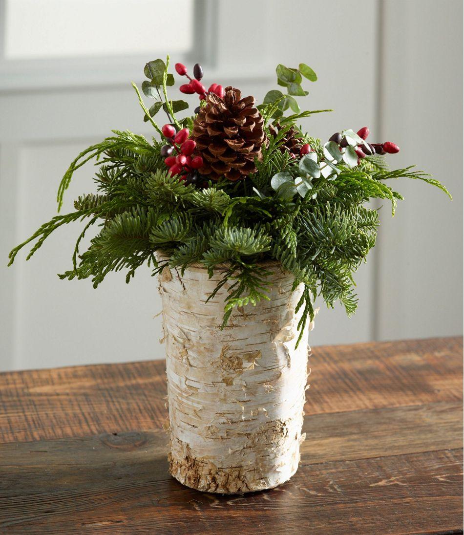 Rustic birch vase centerpiece