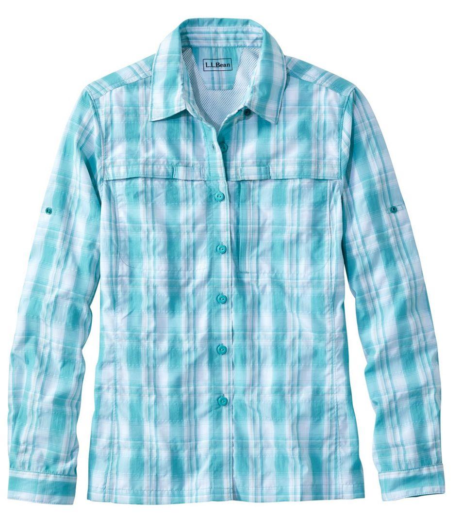 Women's Tropicwear Shirt, Plaid Long-Sleeve