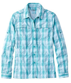 Women's Tropicwear Shirt, Plaid Long-Sleeve