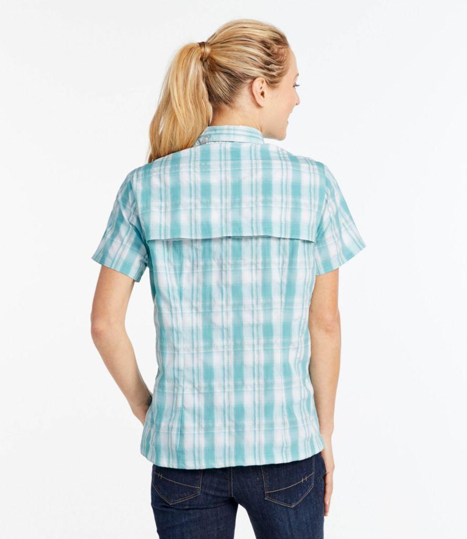 Women's Tropicwear Shirt, Plaid Short-Sleeve