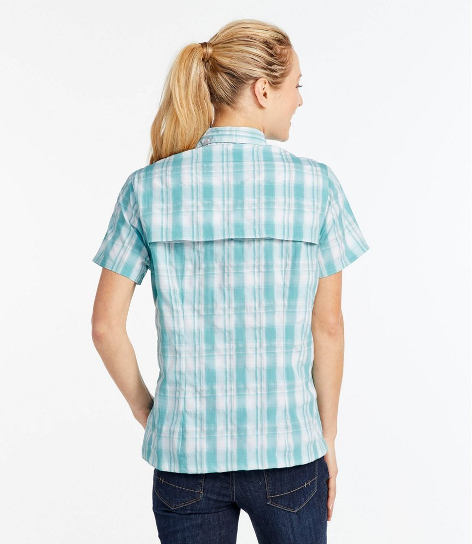 Women's Tropicwear Shirt, Plaid Short-Sleeve