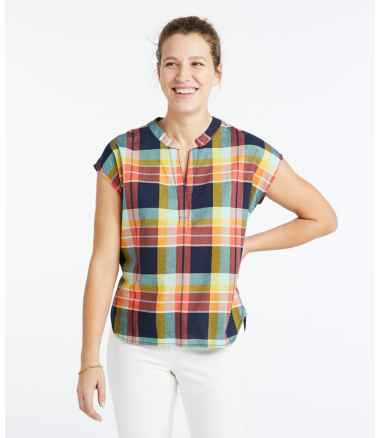 Women's Signature Madras Shirt, Short-Sleeve Split-Neck Popover