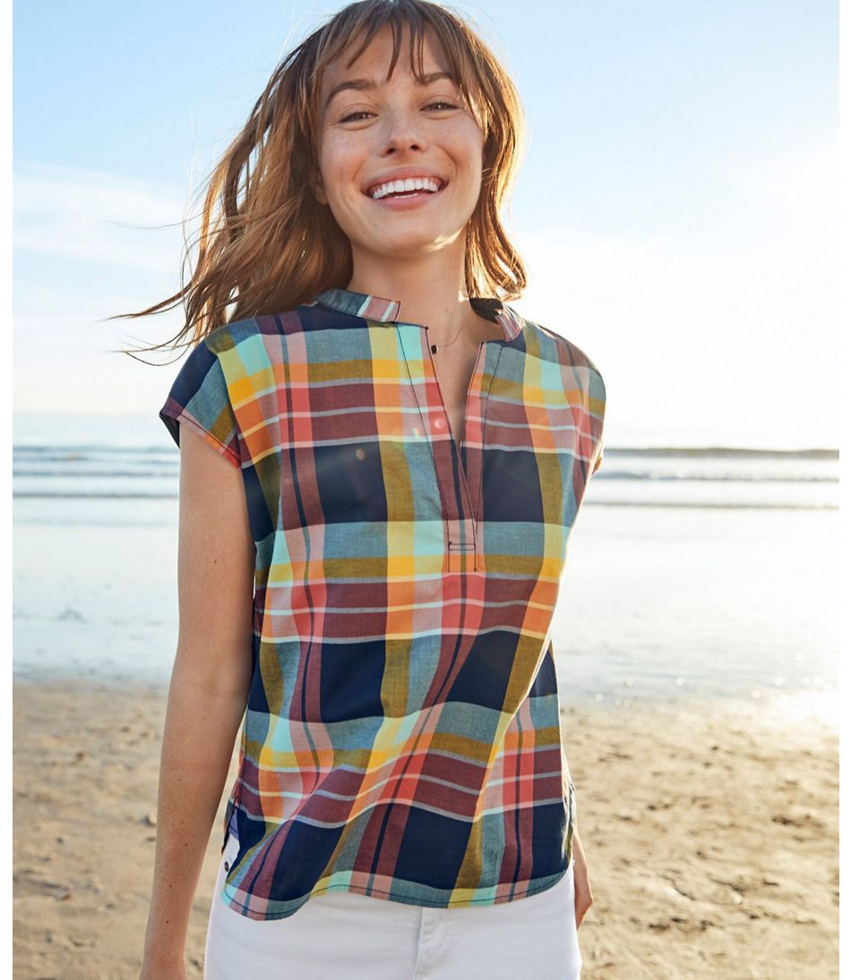 Signature Madras Shirt, Short-Sleeve Split-Neck Popover