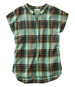 Signature Madras Shirt, Short-Sleeve Split-Neck Popover