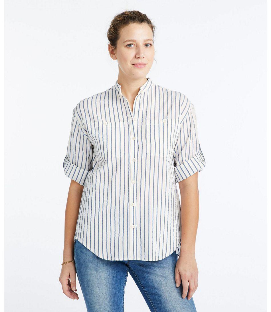 Signature Seersucker Boyfriend Shirt, Short-Sleeve