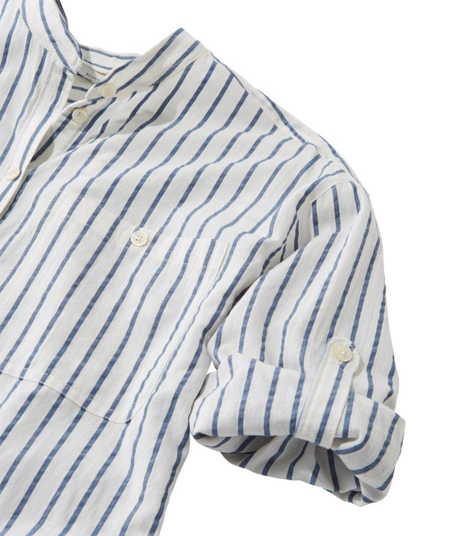 Signature Seersucker Boyfriend Shirt, Short-Sleeve