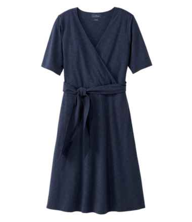 Cotton/Tencel Dress, Elbow-Sleeve