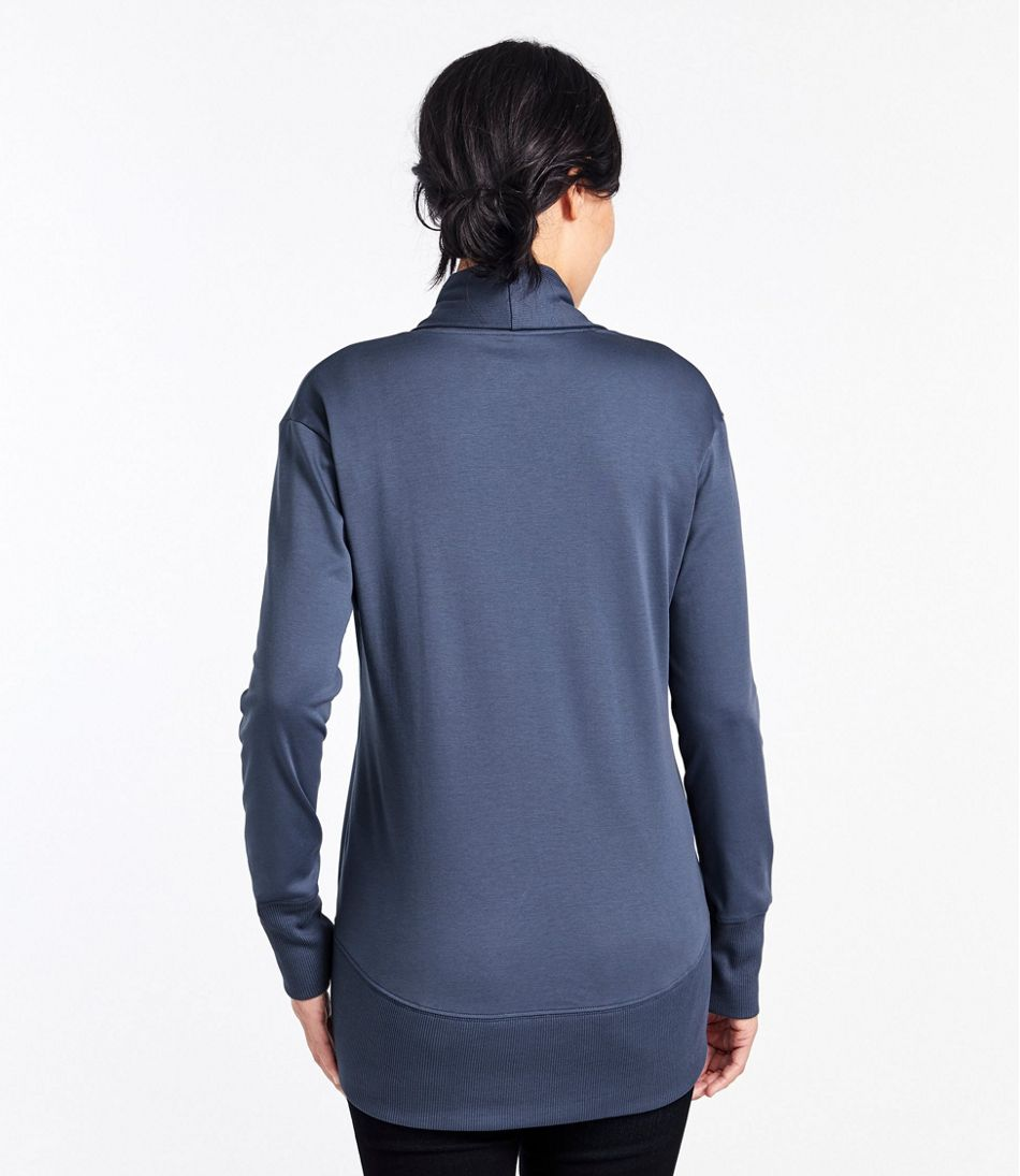 Pima Cotton Tee, Open Cardigan Ribbed Trim