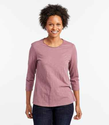 Women's Organic Cotton Tee, Scoopneck Three-Quarter-Sleeve
