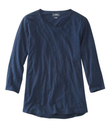 Organic Cotton Tee, Scoopneck Three-Quarter-Sleeve