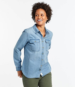 Women's L.L. Bean Heritage Washed Denim Shirt, Long-Sleeve