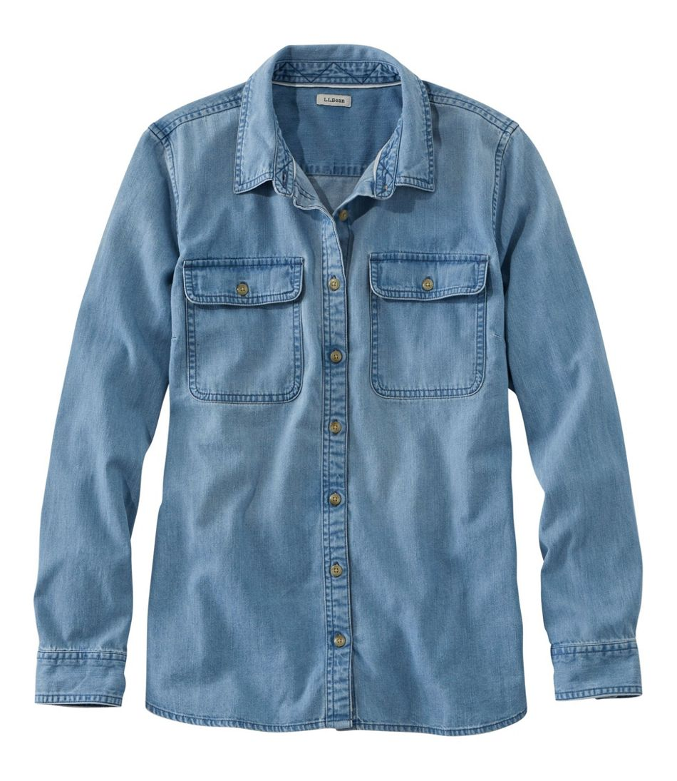 f394e8d65f Women's L.L. Bean Heritage Washed Denim Shirt, Long-Sleeve