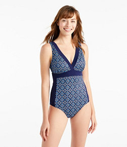 L.L.Bean Mix-and-Match Swimwear, V-Neck Tanksuit Print