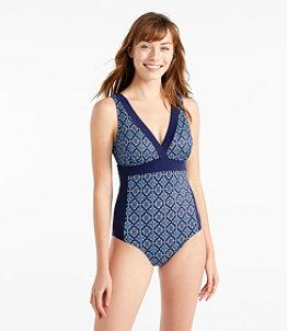 Women's L.L.Bean Mix-and-Match Swimwear, V-Neck Tanksuit Print