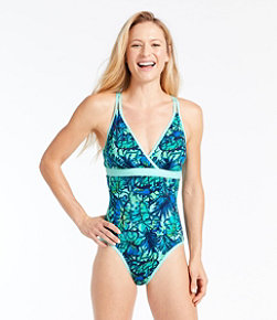 Women's ReNew Swimwear V-Neck Tanksuit, Print