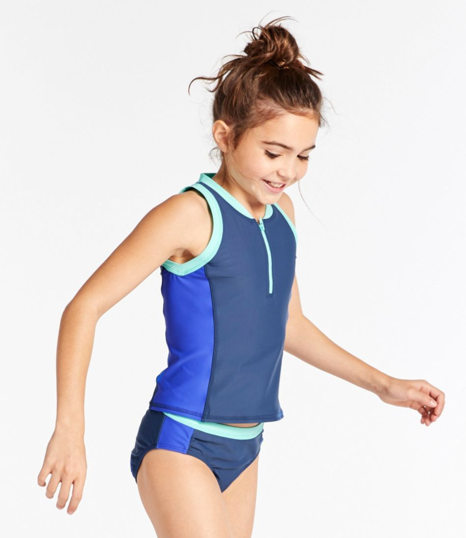Girls' Watersports Swimsuit, Two-Piece, Color Block