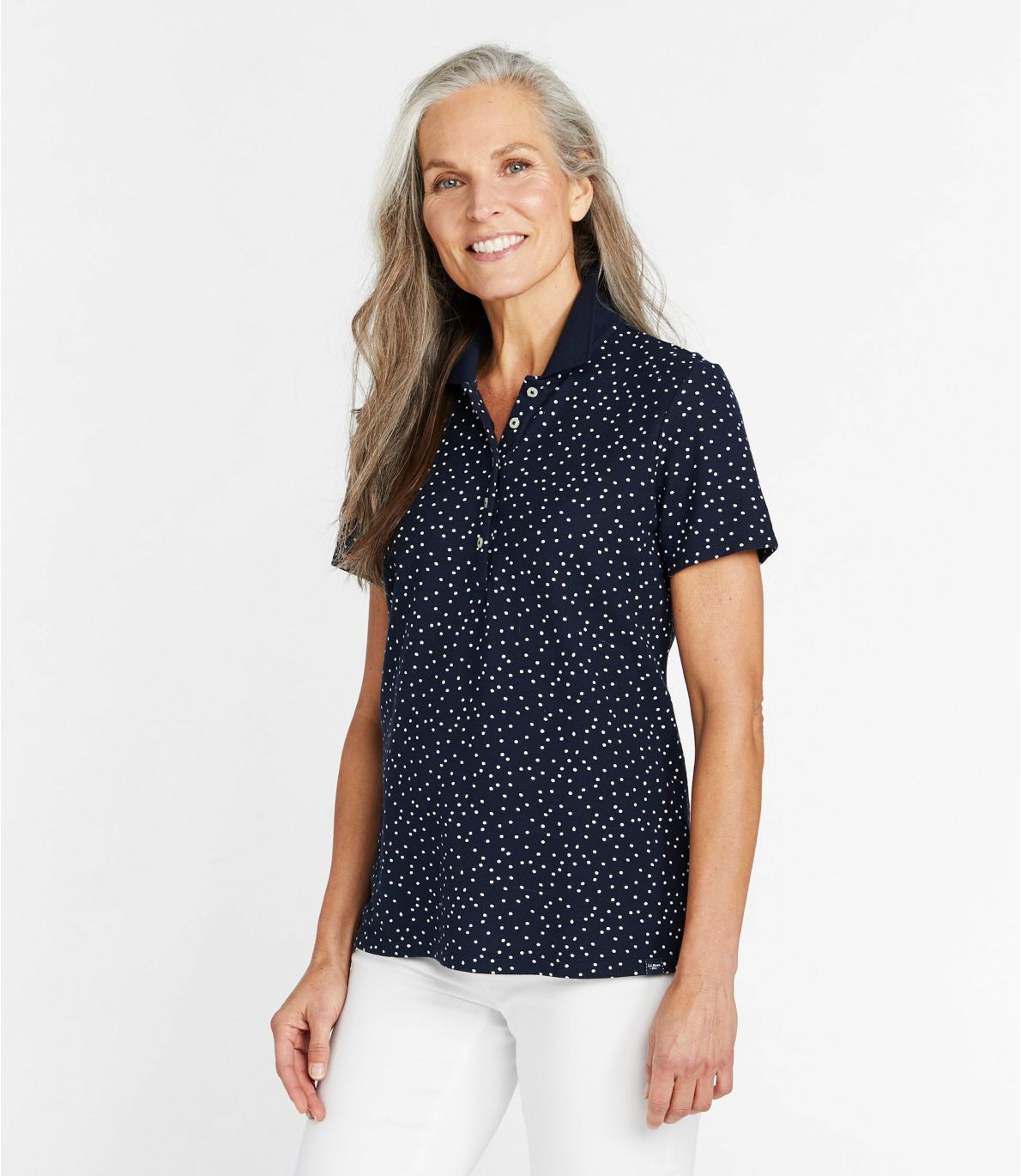 Women's Premium Double L Shaped Polo, Short-Sleeve Print