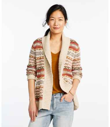 Women's Signature Cotton Slub Sweater, Long Cardigan Fair Isle