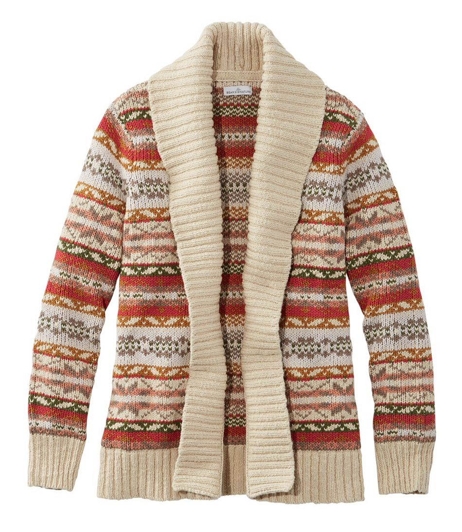 Signature Cotton Slub Sweater, Long Cardigan Fair Isle