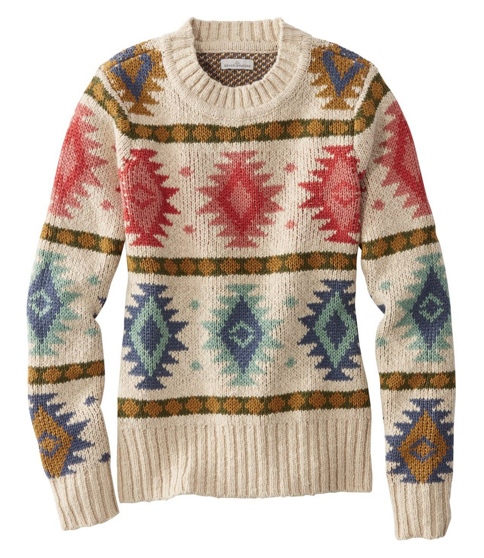 Women's Signature Cotton Slub Sweater, Fair Isle