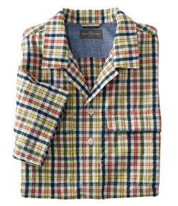 Men's Signature Seersucker Popover Shirt, Short-Sleeve, Plaid