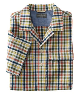Men's Signature Seersucker Popover Shirt, Short-Sleeve, Plaid