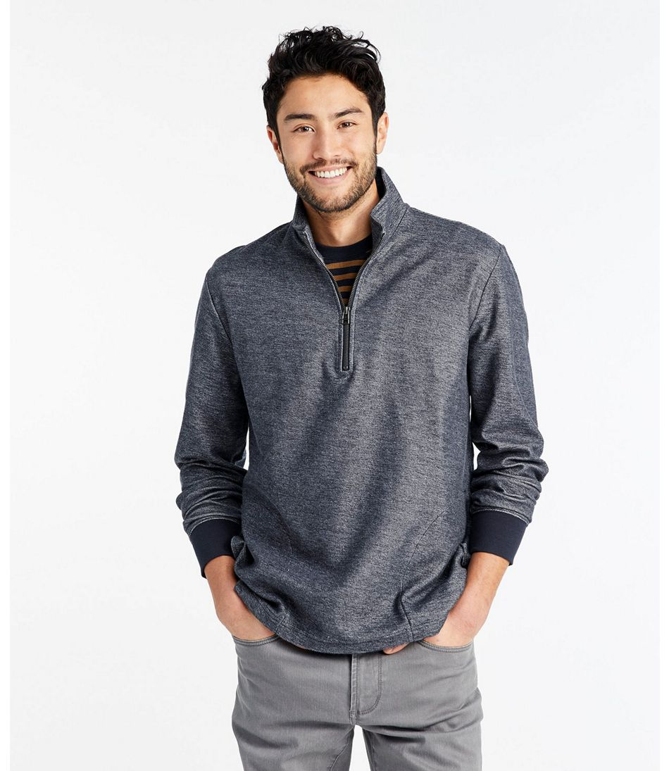 Men's Signature French Terry Pullover, Quarter-Zip, Long Sleeve, Slim Fit