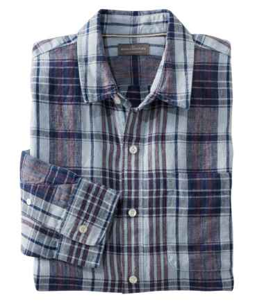 Men's Signature Linen Shirt, Long-Sleeve, Plaid