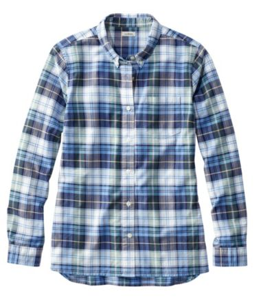 Women's Organic Cotton Button-Front Shirt, Long-Sleeve Plaid