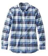 Organic Cotton Button-Front Shirt, Long-Sleeve Plaid