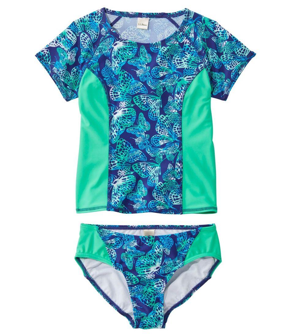 Girls' BeanSport Rash Guard Bikini, Lined, Print