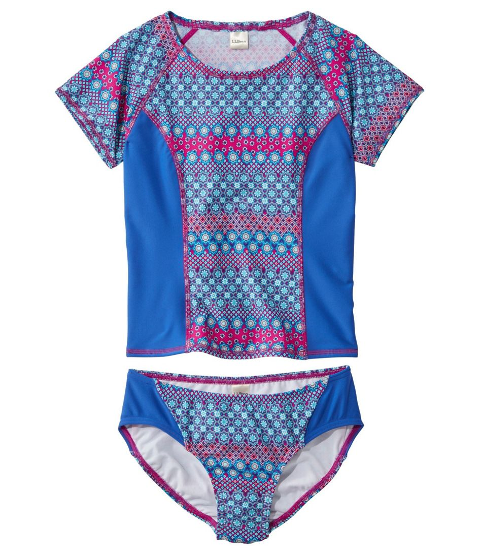 Girls' BeanSport Rash Guard Bikini, Lined, Print